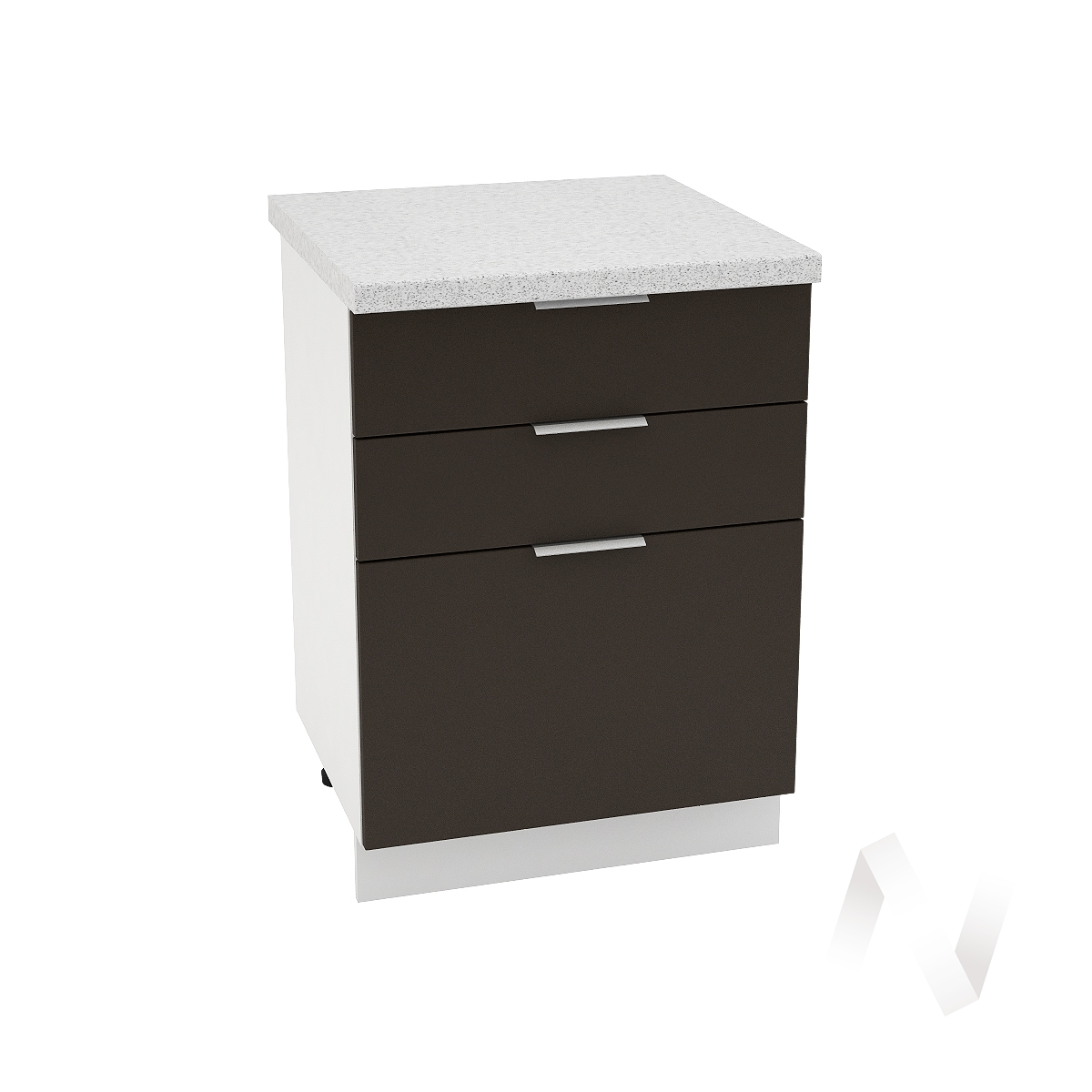 "Кухня ""Терра"": Шкаф нижний с 3-мя ящиками 600, ШН3Я 600 (смоки софт/корпус белый)"
