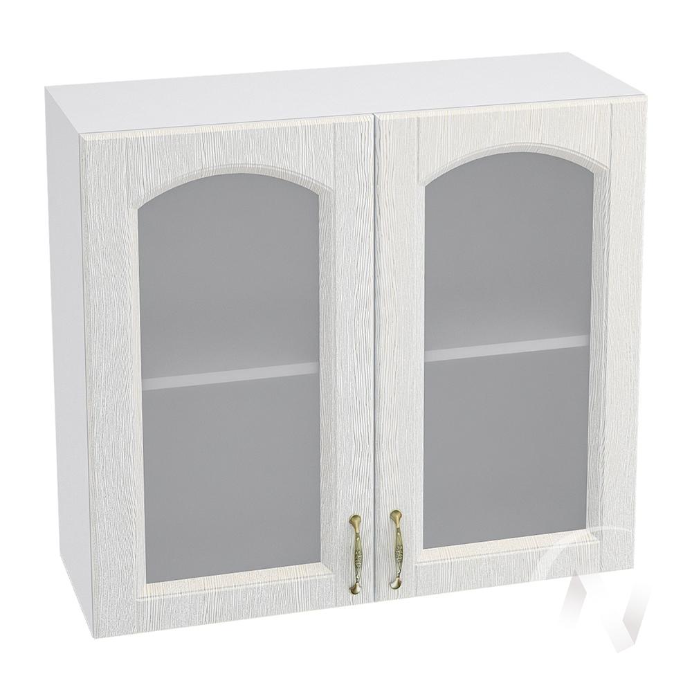 """Кухня """"Верона"""": Шкаф верхний со стеклом 800, ШВС 800 (ясень золотистый/корпус белый)"""