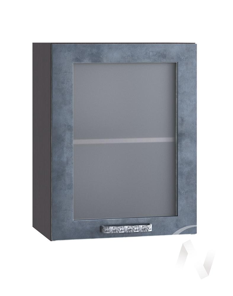 """Кухня """"Лофт"""": Шкаф верхний со стеклом 500, ШВС 500 (Бетон графит/корпус венге)"""