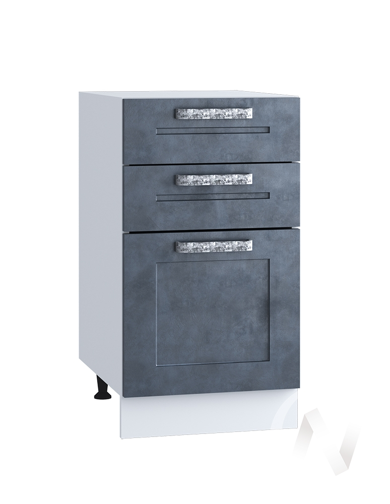 "Кухня ""Лофт"": Шкаф нижний с 3-мя ящиками 400, ШН3Я 400 (Бетон графит/корпус белый)"