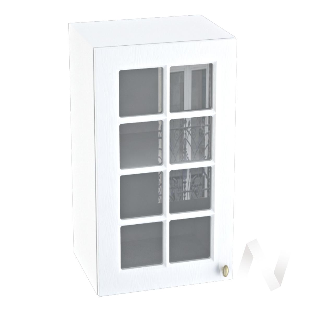 """Кухня """"Прованс"""": Шкаф верхний со стеклом 400, ШВС 400 (белое дерево/корпус белый)"""