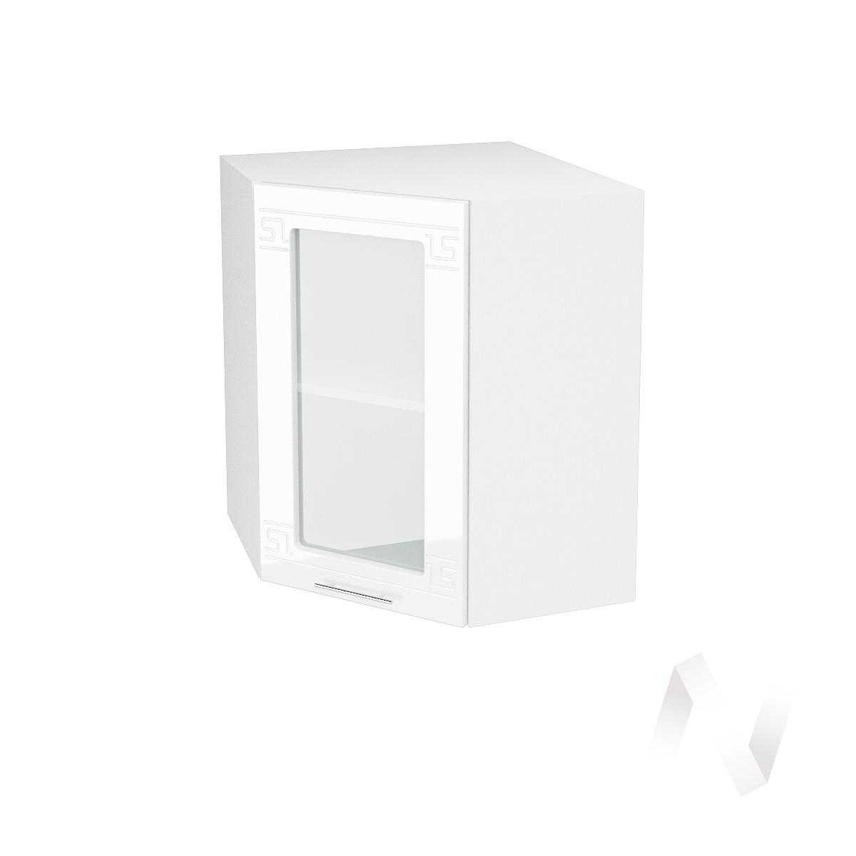 """Кухня """"Греция"""": Шкаф верхний угловой со стеклом 590, ШВУС 590 (белый металлик/корпус белый)  в Новосибирске - интернет магазин Мебельный Проспект"""