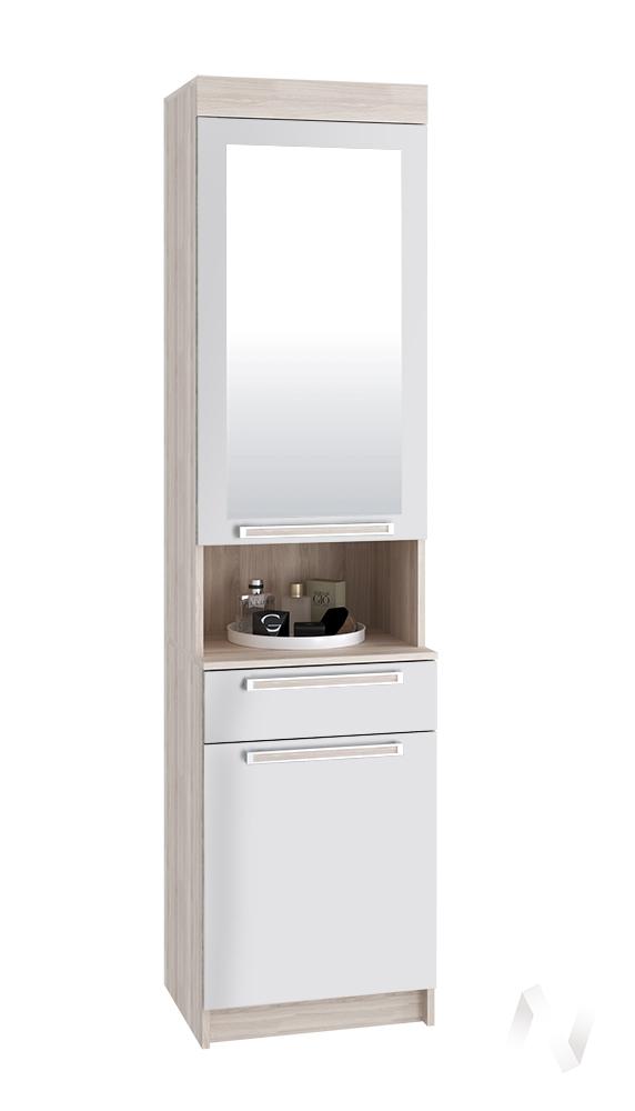Шкаф с зеркалом Лофт ясень шимо светлый/белый глянец