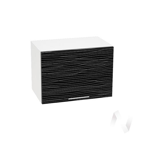 """Кухня """"Валерия-М"""": Шкаф верхний горизонтальный 500, ШВГ 500 (Страйп черный/корпус белый)"""