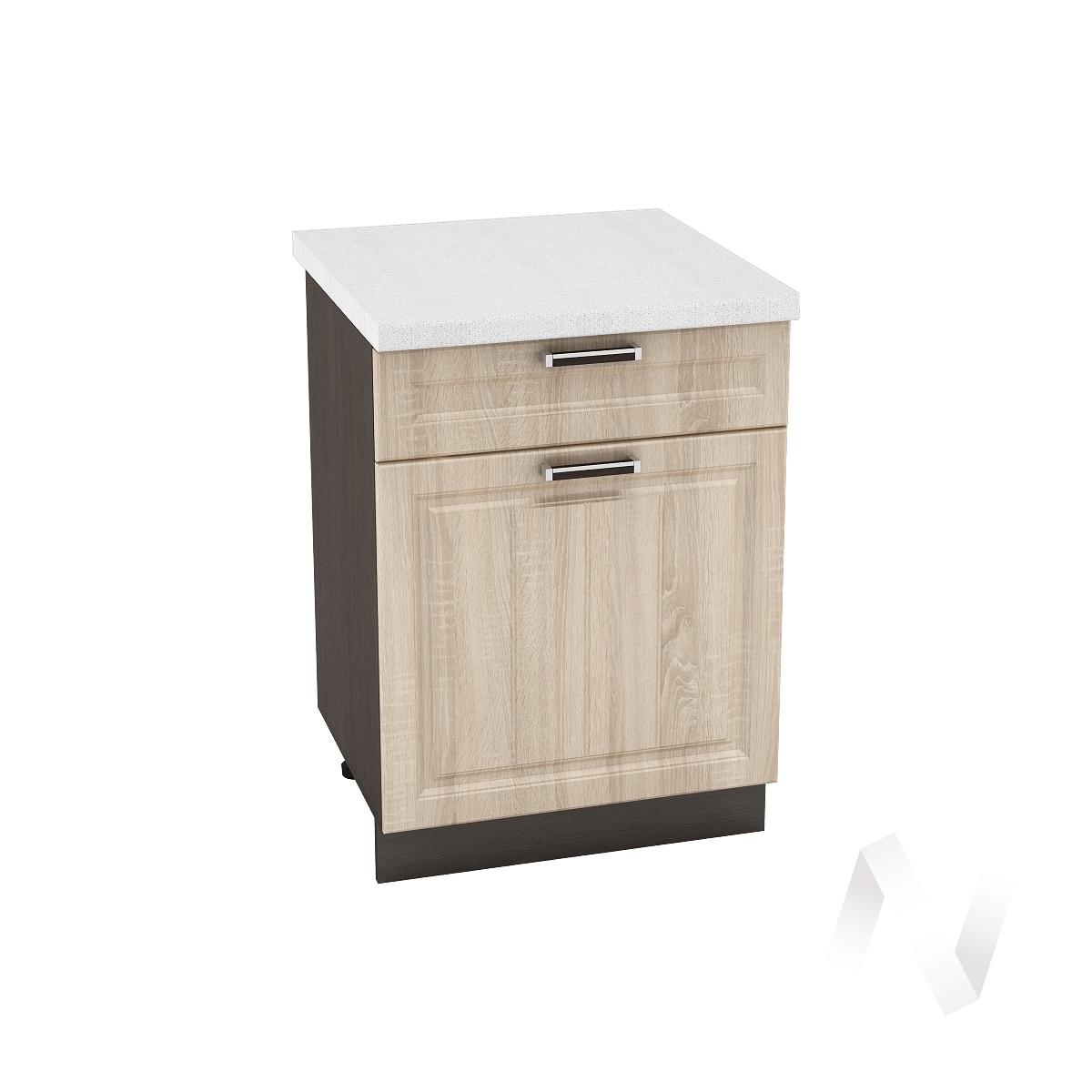 "Кухня ""Прага"": Шкаф нижний с ящиком 600, ШН1Я 600 М (дуб сонома/корпус венге)"