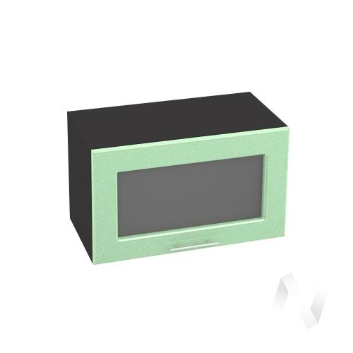 """Кухня """"Вега"""": Шкаф верхний горизонтальный со стеклом 600, ШВГС 600 (салатовый металлик/корпус венге)"""