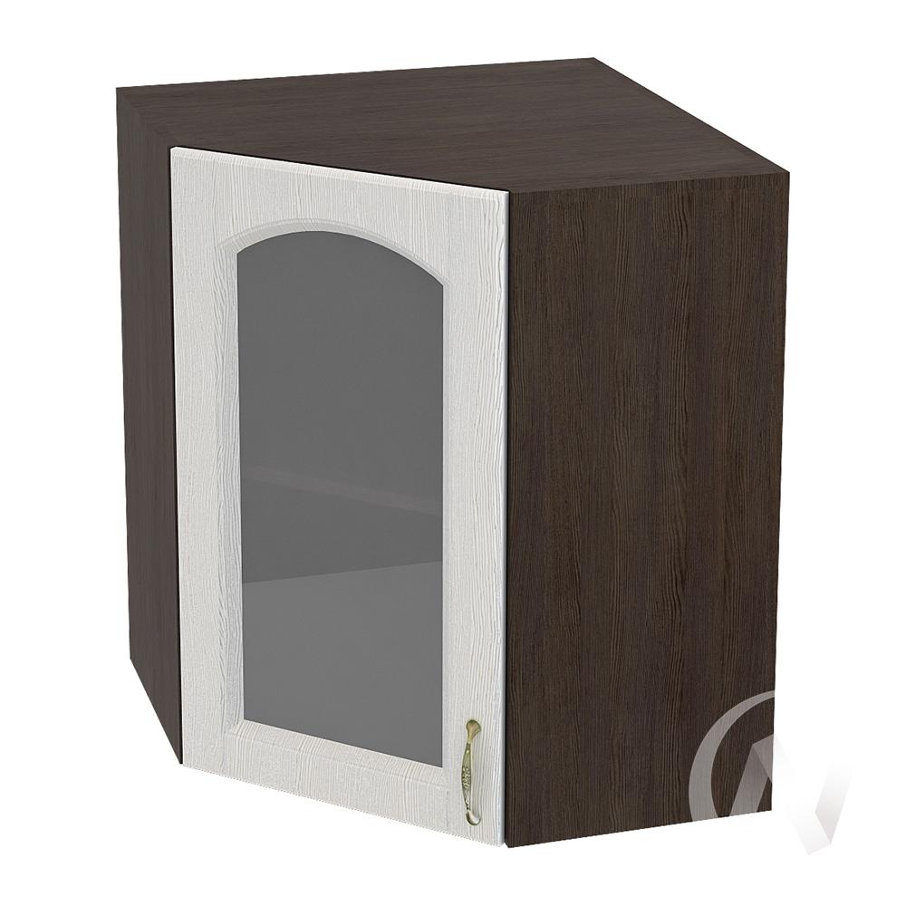 """Кухня """"Верона"""": Шкаф верхний угловой со стеклом 590 левый, ШВУС 590 (ясень золотистый/корпус венге)"""
