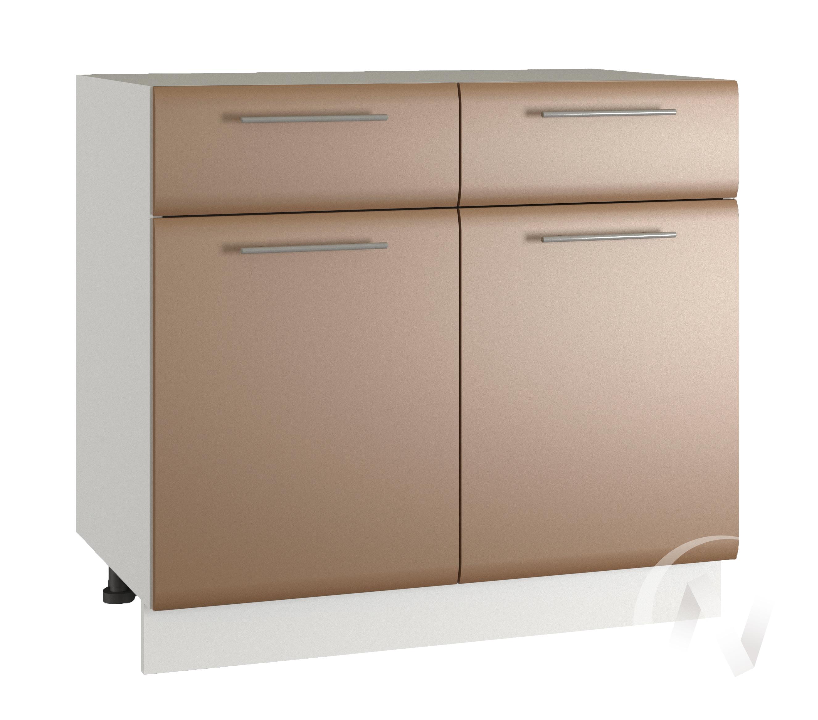 """Кухня """"Люкс"""": Шкаф нижний с ящиками 800, ШН1Я 800 (Шоколад матовый/корпус белый)"""