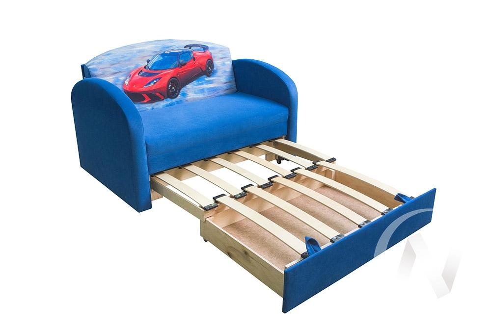 Сказка диван детский (машинка/шеги деним синий)  в Томске — интернет магазин МИРА-мебель