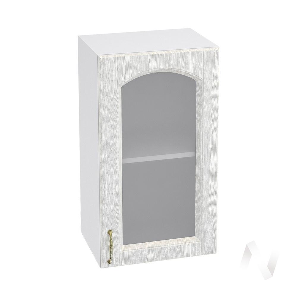 """Кухня """"Верона"""": Шкаф верхний со стеклом 400 правый, ШВС 400 (ясень золотистый/корпус белый)"""