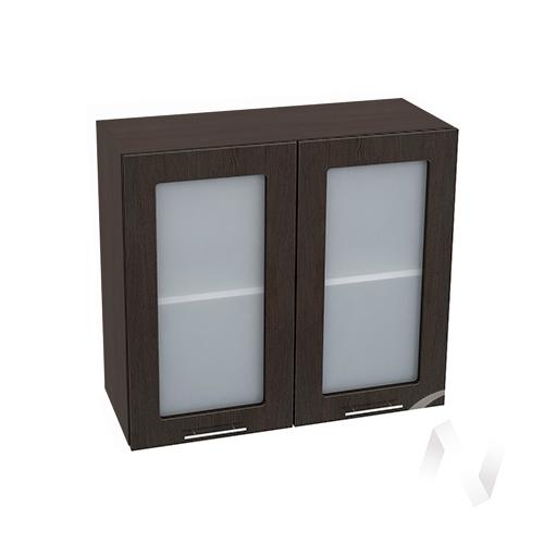 """Кухня """"Валерия-М"""": Шкаф верхний со стеклом 800, ШВС 800 (венге/корпус венге)"""