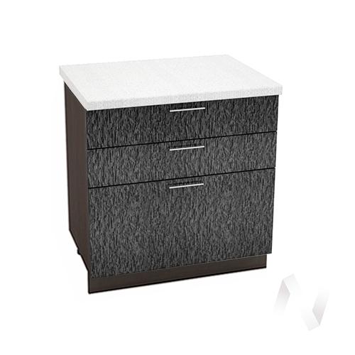 """Кухня """"Валерия-М"""": Шкаф нижний с 3-мя ящиками 800, ШН3Я 800 (дождь черный/корпус венге)"""