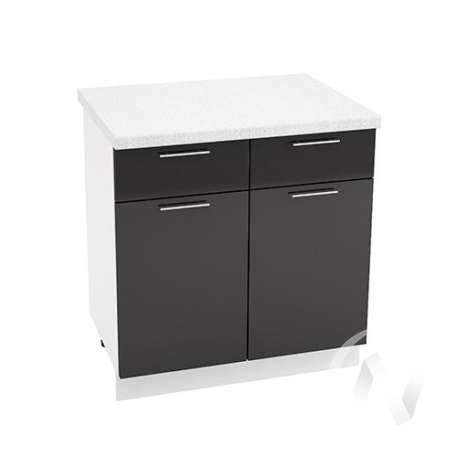 """Кухня """"Валерия-М"""": Шкаф нижний с ящиками 800, ШН1Я 800 (черный металлик/корпус белый)"""