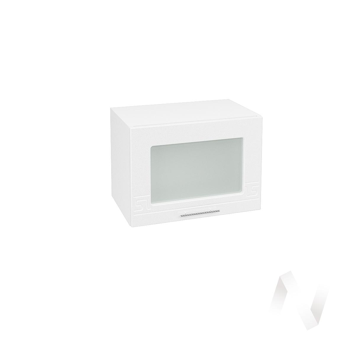 """Кухня """"Греция"""": Шкаф верхний горизонтальный со стеклом 500, ШВГС 500 (белый металлик/корпус белый)  в Новосибирске - интернет магазин Мебельный Проспект"""