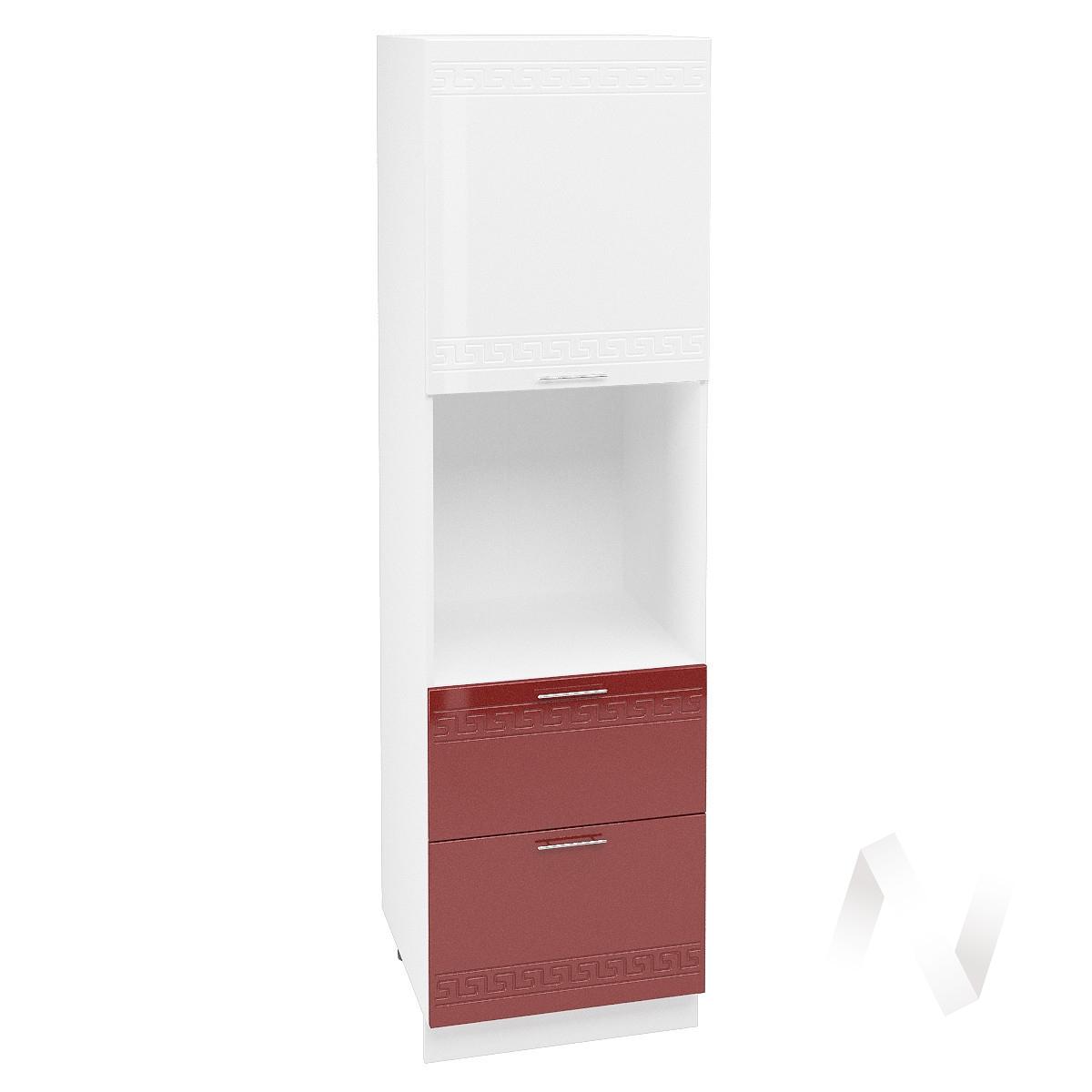 """Кухня """"Греция"""": Шкаф пенал с 2-мя ящиками 600, ШП2Я 600 (белый/гранатовый металлик/корпус белый)"""