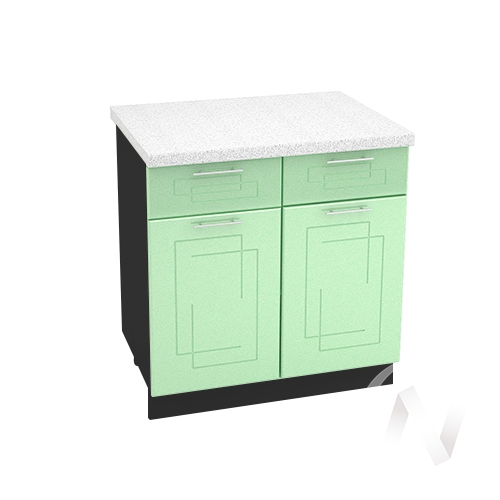 """Кухня """"Вега"""": Шкаф нижний с ящиками 800, ШН1Я 800 (салатовый металлик/корпус венге)"""