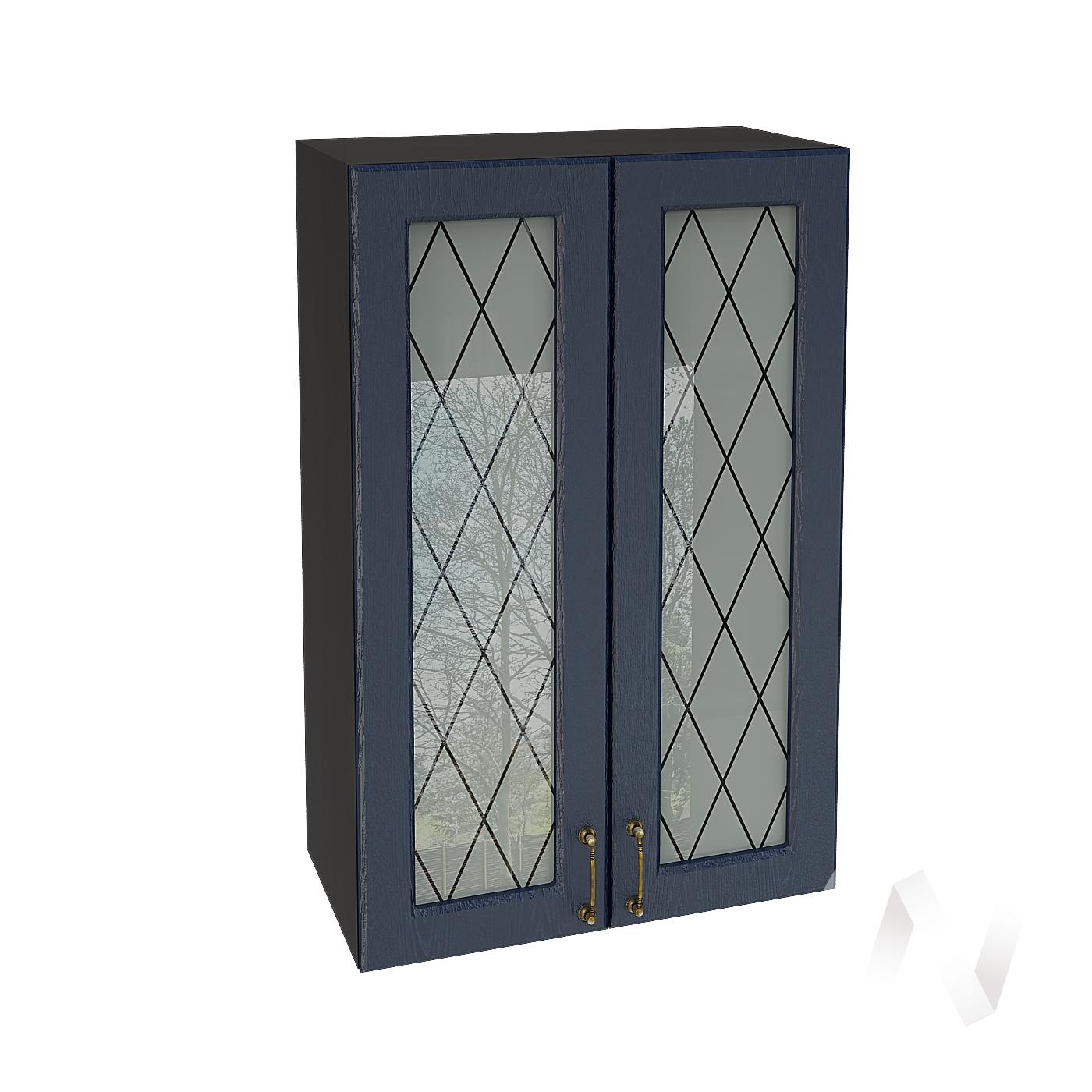 """Кухня """"Ницца"""": Шкаф верхний со стеклом 609, ШВС 609 (Дуб чернильный/корпус венге)"""