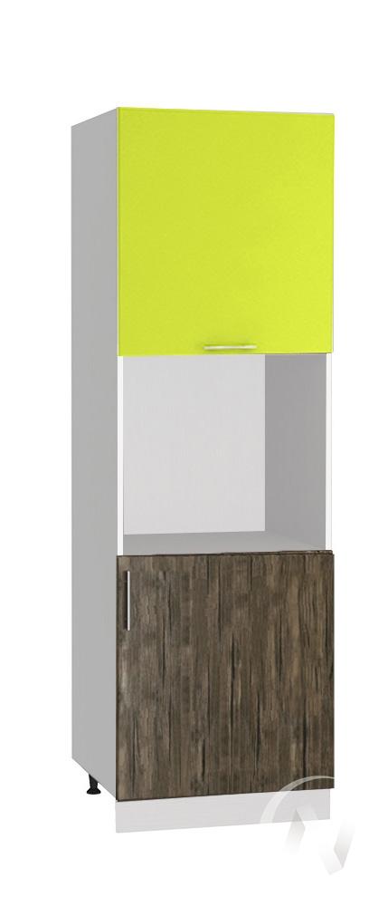 "Кухня ""Норден"": Шкаф пенал 600, ШП 600 (старое дерево/лайм глянец/корпус белый)"