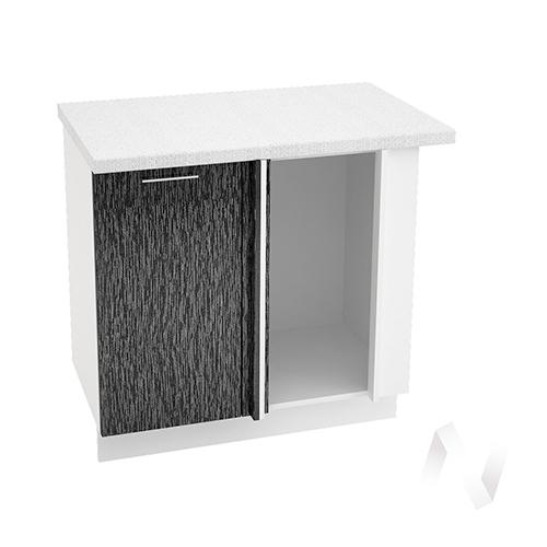 """Кухня """"Валерия-М"""": Шкаф нижний угловой 990М, ШНУ 990М (дождь черный/корпус белый)"""