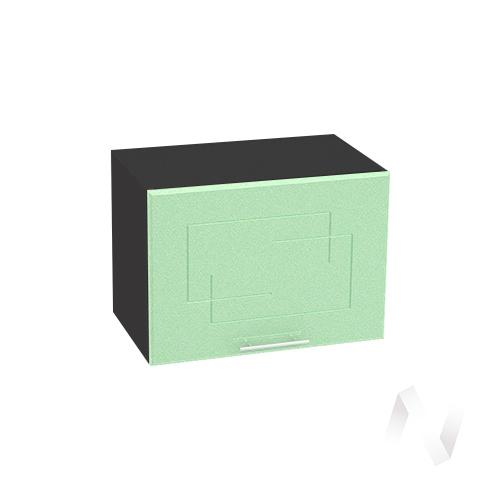 """Кухня """"Вега"""": Шкаф верхний горизонтальный 500, ШВГ 500 (салатовый металлик/корпус венге)"""
