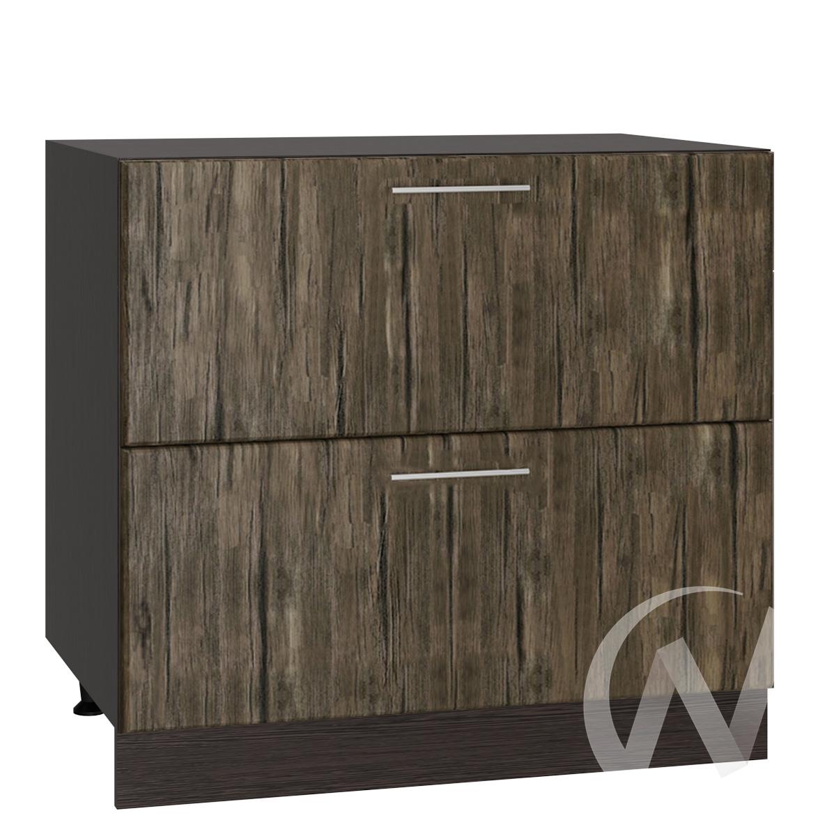 """Кухня """"Норден"""": Шкаф нижний с 2-мя ящиками 800, ШН2Я 800 (старое дерево/корпус венге)"""