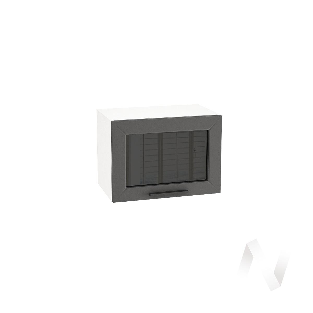 """Кухня """"Глетчер"""": Шкаф верхний горизонтальный со стеклом 500, ШВГС 500 (Маренго силк/корпус белый)"""