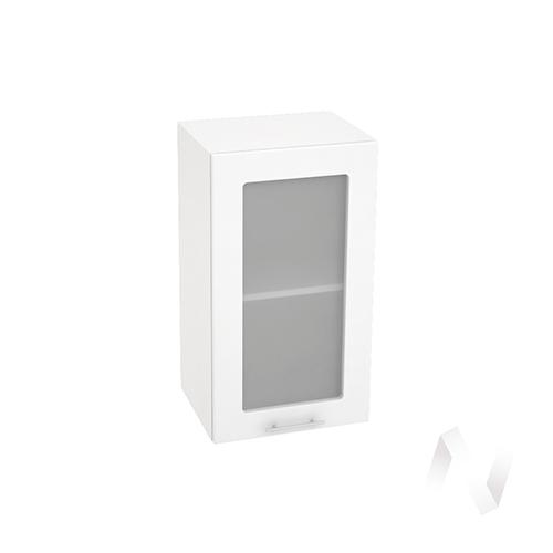 "Кухня ""Валерия-М"": Шкаф верхний со стеклом 400, ШВС 400 (белый металлик/корпус белый)"
