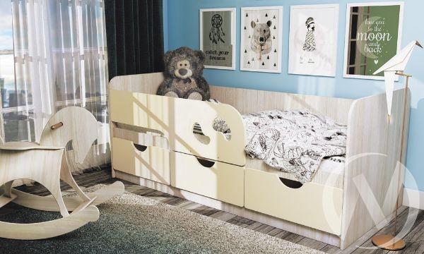 Кровать детская Минима Лего 1,6м (дуб атланта/крем)