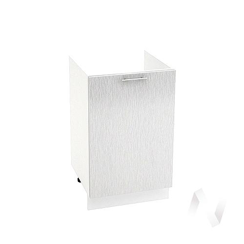 "Кухня ""Валерия-М"": Шкаф нижний под мойку 500, ШНМ 500 (дождь серый/корпус белый)"