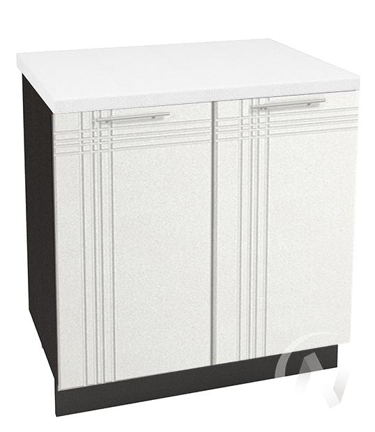 """Кухня """"Струна"""": Шкаф нижний 800, ШН 800 (белый металлик/корпус венге)"""