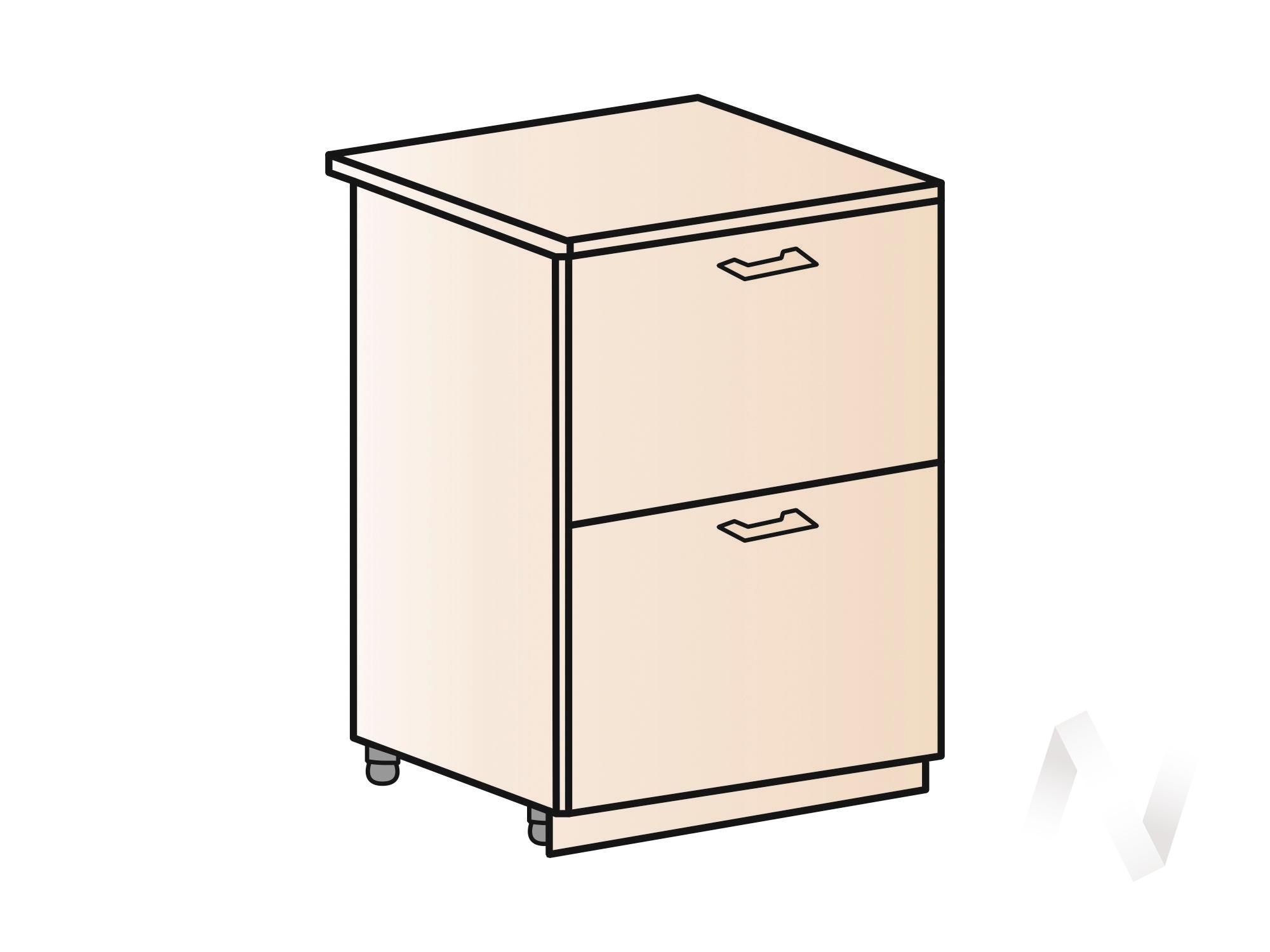 """Кухня """"Люкс"""": Шкаф нижний с 2-мя ящиками 600, ШН2Я 600 (Шоколад матовый/корпус венге) в Томске — авторская мебель Экостиль"""