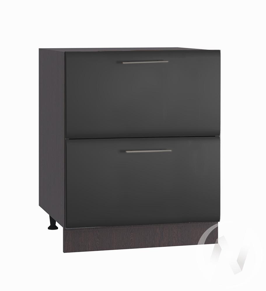 """Кухня """"Люкс"""": Шкаф нижний с 2-мя ящиками 600, ШН2Я 600 (Шелк венге/корпус венге)"""
