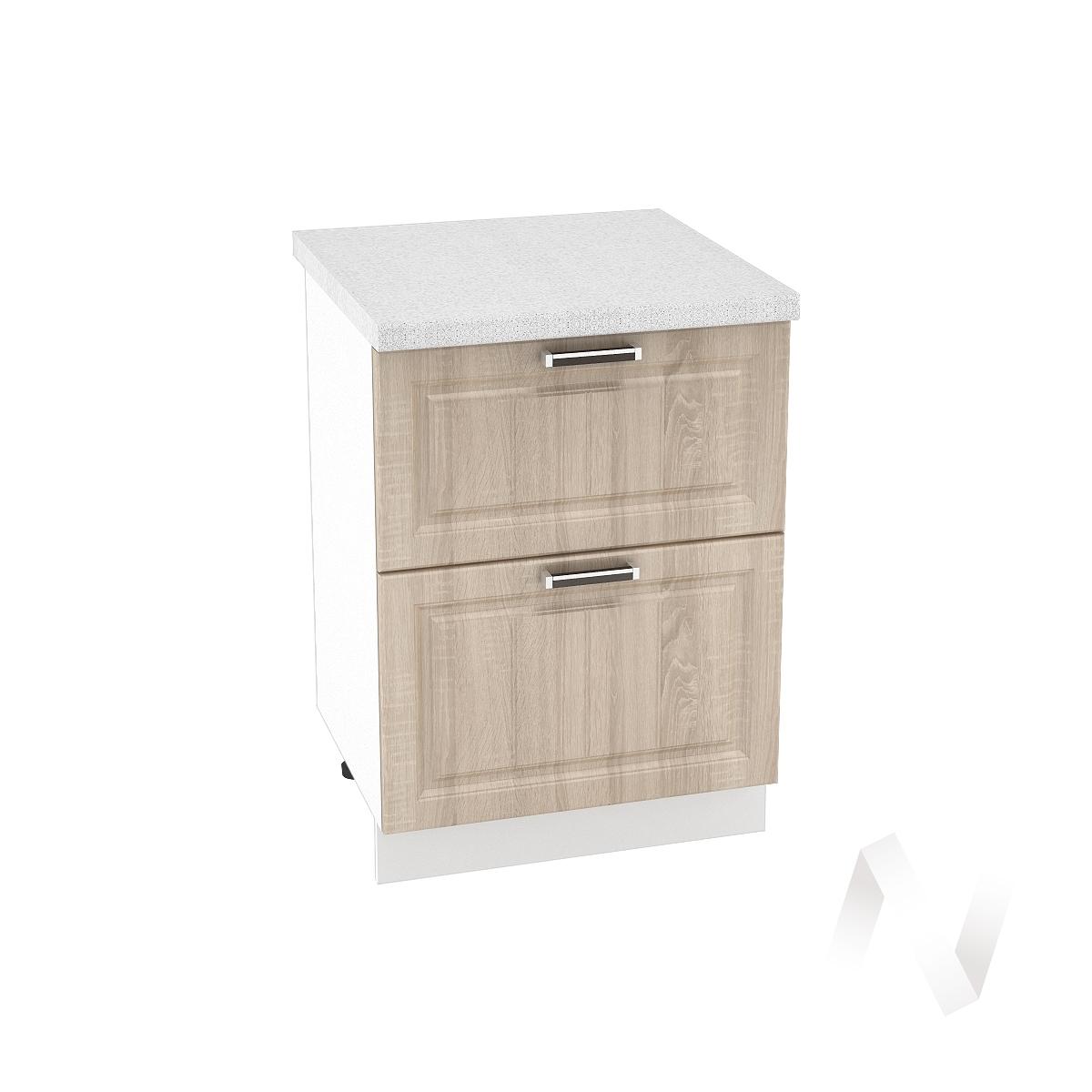 """Купить кухня """"прага"""": шкаф нижний с 2-мя ящиками 600, шн2я 600 (дуб сонома/корпус белый) в Новосибирске в интернет-магазине Мебель плюс Техника"""