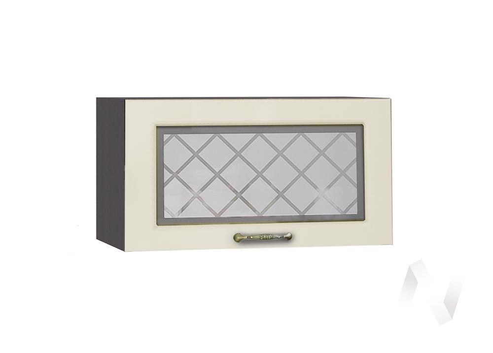"""Кухня """"Селена"""": Шкаф верхний горизонтальный со стеклом 600, ШВГС 600 (Дуб ваниль/корпус венге)"""