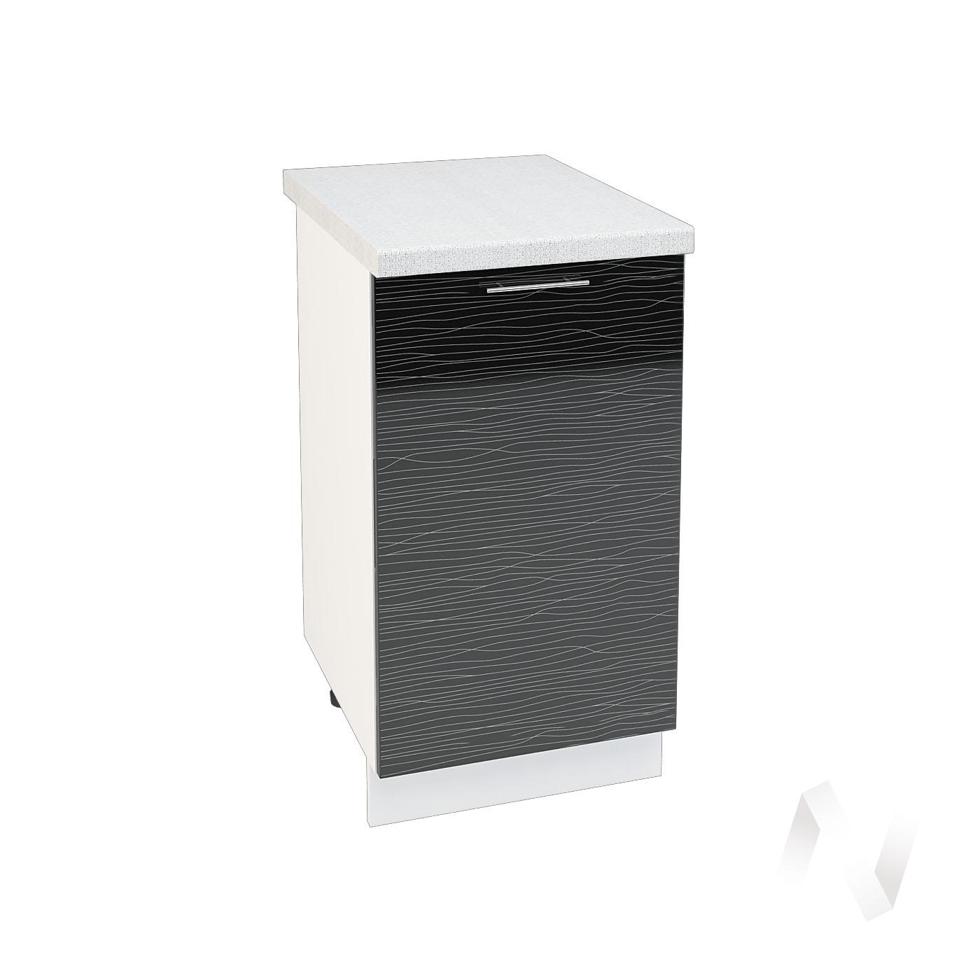 "Кухня ""Валерия-М"": Шкаф нижний 450, ШН 450 (Страйп черный/корпус белый)"