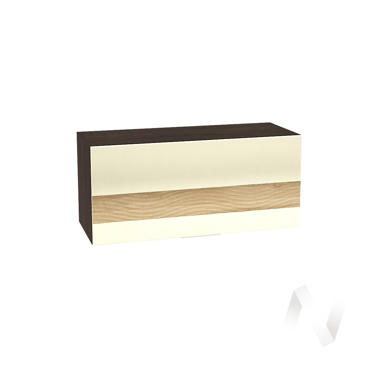 """Кухня """"Терра"""": Шкаф верхний горизонтальный 800, ШВГ 800 (ваниль софт/ель карпатская/корпус венге)"""