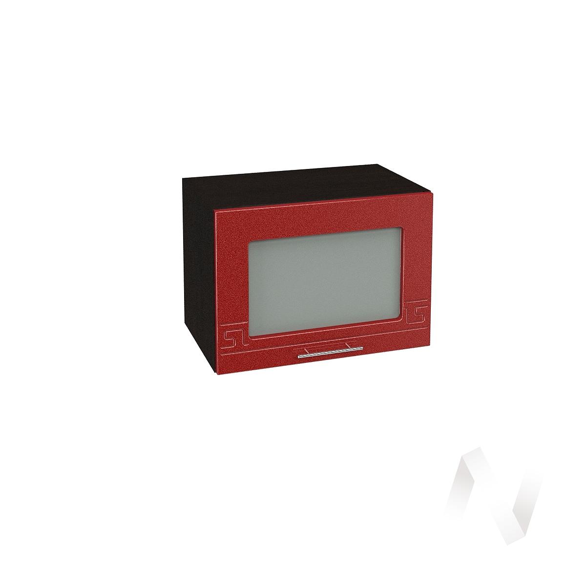 """Кухня """"Греция"""": Шкаф верхний горизонтальный со стеклом 500, ШВГС 500 (гранат. металлик/корпус венге)"""