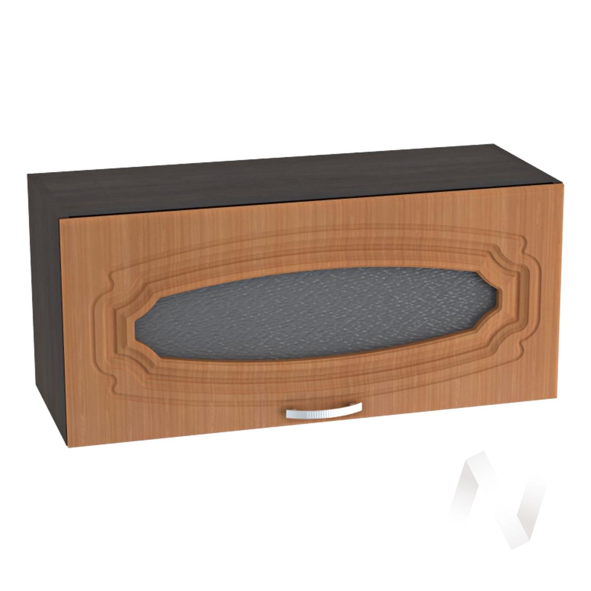 """Кухня """"Настя"""": Шкаф верхний горизонтальный со стеклом 800, ШВГС 800 (Орех миланский/корпус венге)"""
