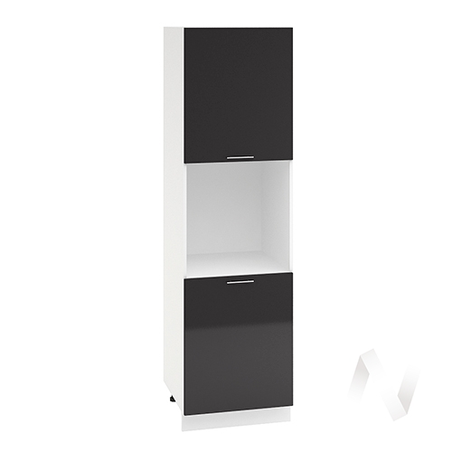 "Кухня ""Валерия-М"": Шкаф пенал 600, ШП 600 (черный металлик/корпус белый)"