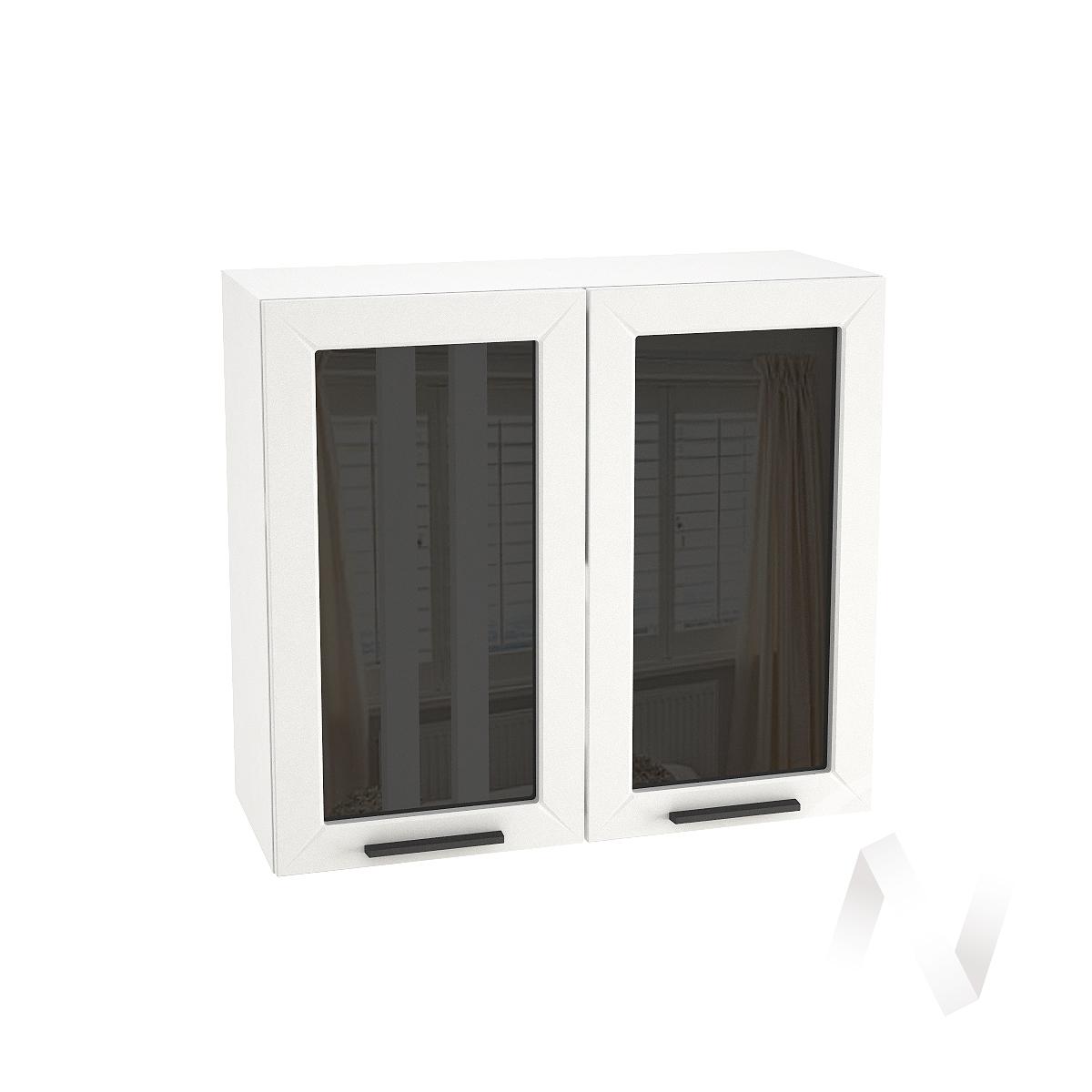 "Кухня ""Глетчер"": Шкаф верхний со стеклом 800, ШВС 800 (Айленд силк/корпус белый)"