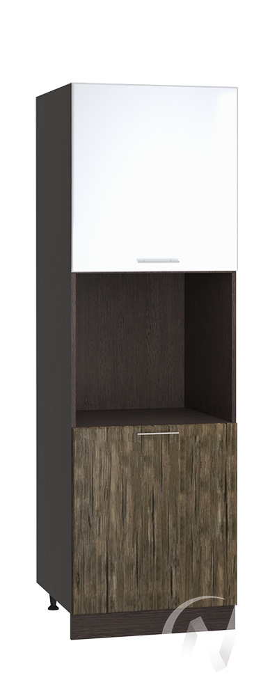 "Кухня ""Норден"": Шкаф пенал 600, ШП 600 (старое дерево/белый глянец/корпус венге)"