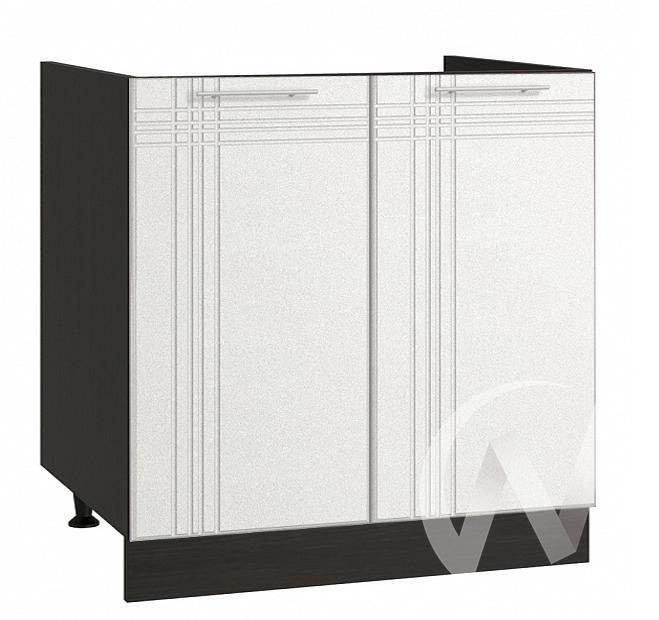 """Кухня """"Струна"""": Шкаф нижний под мойку 800, ШНМ 800 (белый металлик/корпус венге)"""