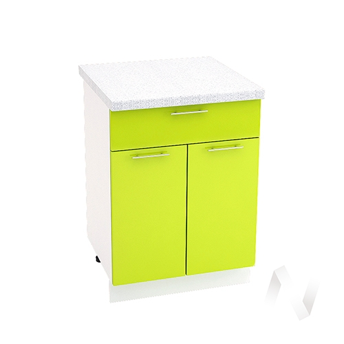 "Кухня ""Валерия-М"": Шкаф нижний с ящиком 600, ШН1Я 600 М (лайм глянец/корпус белый)"
