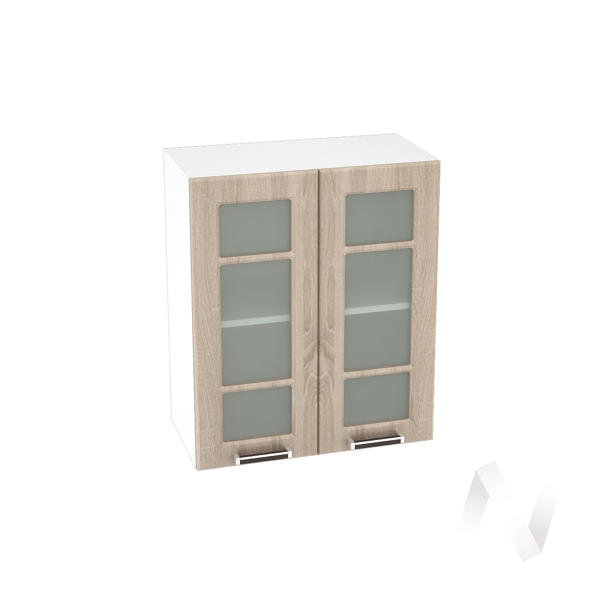 "Кухня ""Прага"": Шкаф верхний со стеклом 600, ШВС 600 (дуб сонома/корпус белый)"