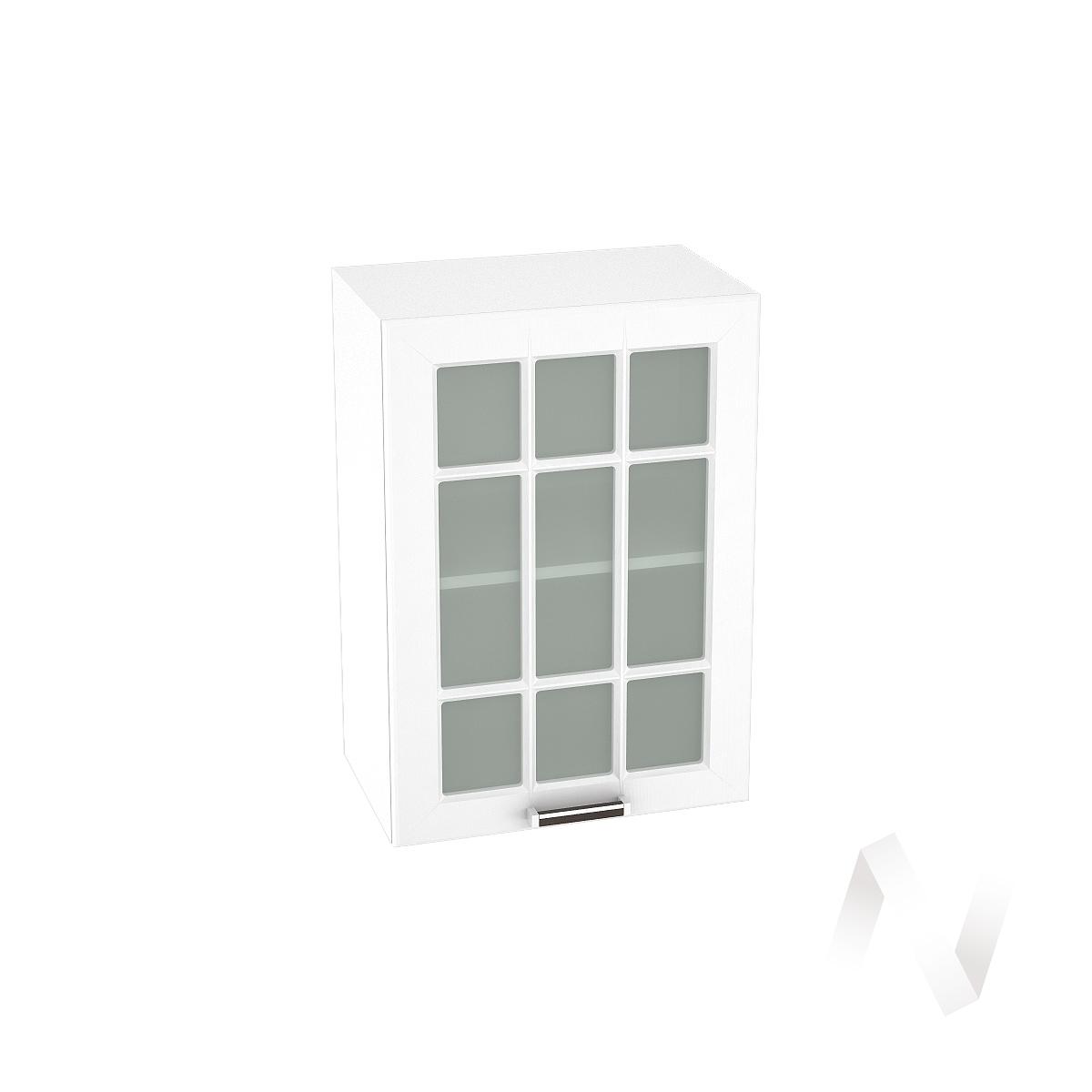 """Кухня """"Прага"""": Шкаф верхний со стеклом 500, ШВС 500 (белое дерево/корпус белый)"""