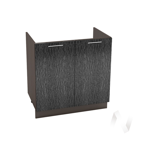 """Кухня """"Валерия-М"""": Шкаф нижний под мойку 800, ШНМ 800 (дождь черный/корпус венге)"""