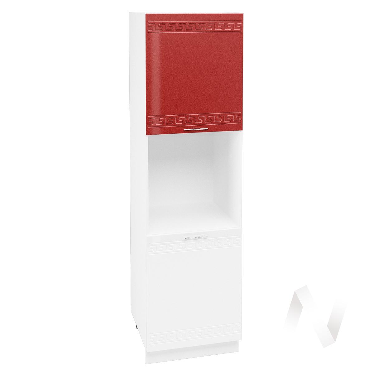 "Кухня ""Греция"": Шкаф пенал 600, ШП 600 (гранатовый/белый металлик/корпус белый)"