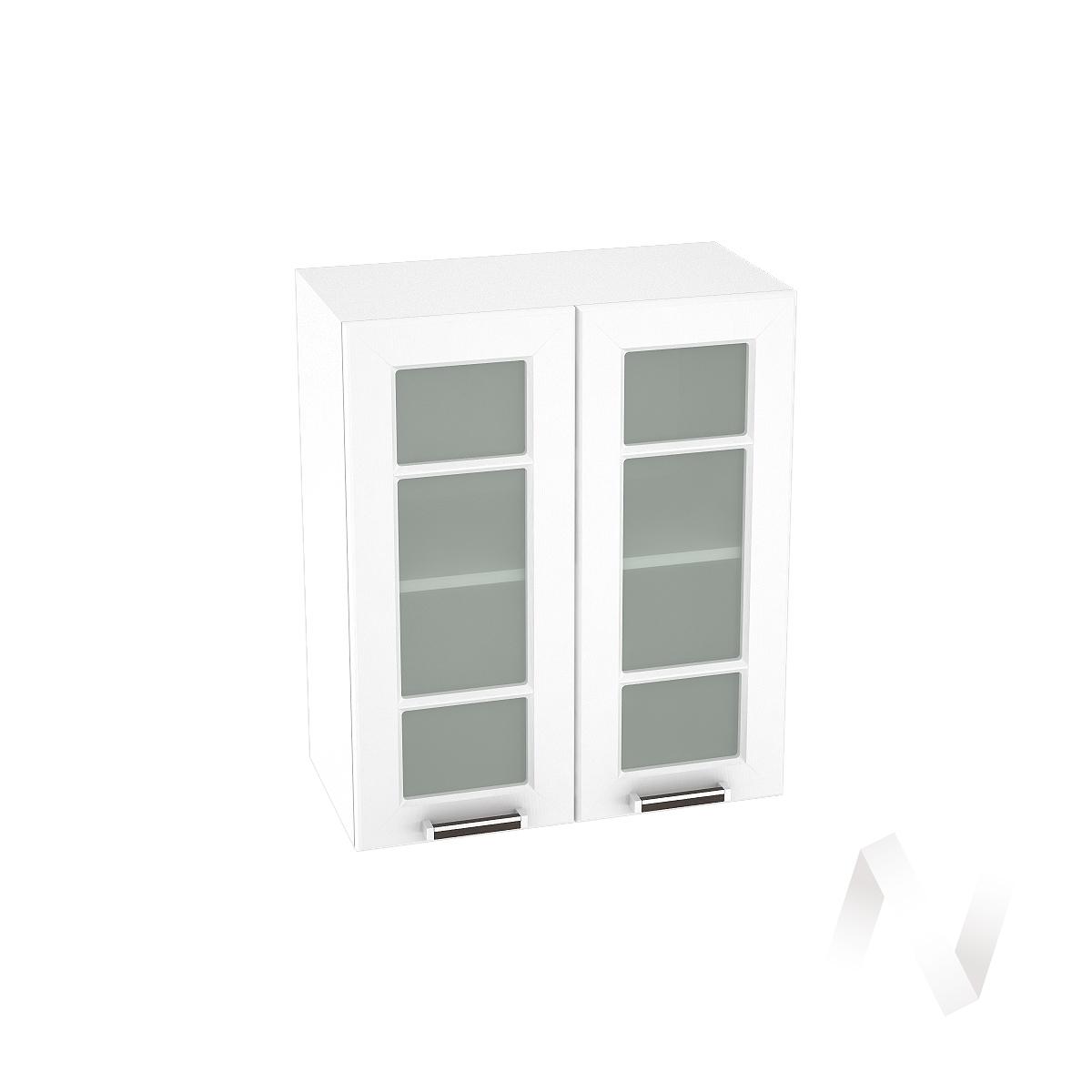 """Кухня """"Прага"""": Шкаф верхний со стеклом 600, ШВС 600 (белое дерево/корпус белый)"""
