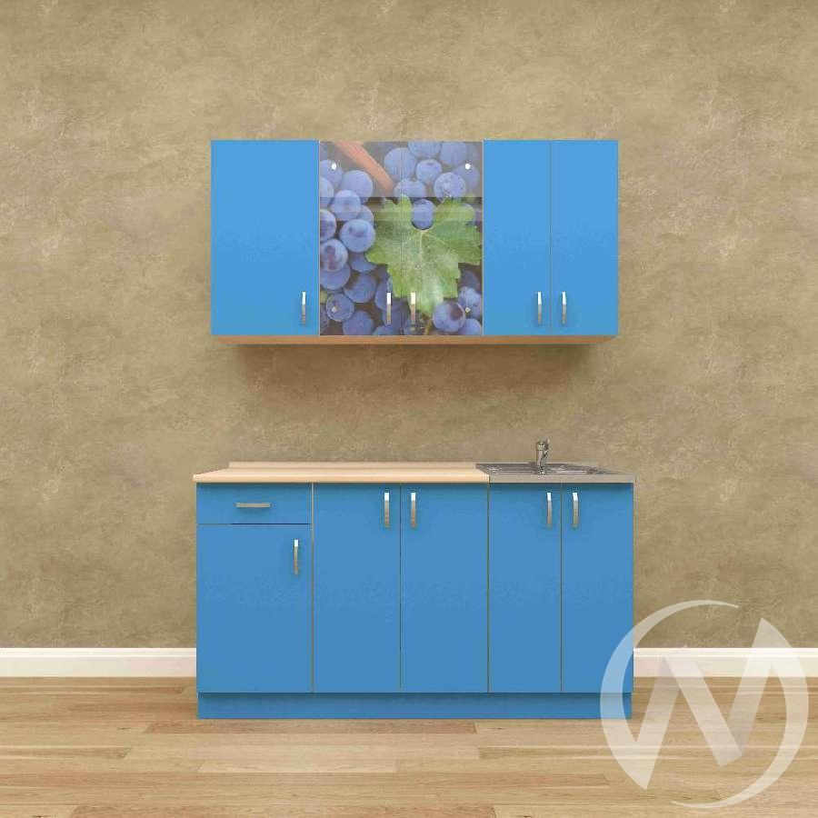 Кухня Виноград 1,5 м (белый/синий)