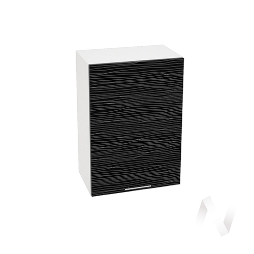 """Кухня """"Валерия-М"""": Шкаф верхний 500, ШВ 500 (Страйп черный/корпус белый)"""